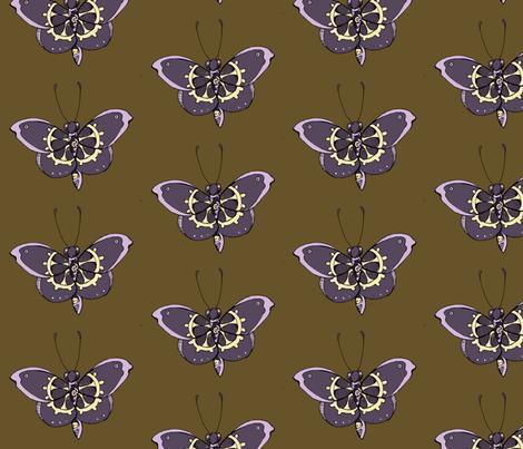 Clockwork Butterfly, Purple fabric by lilmissmaya on Spoonflower - custom fabric