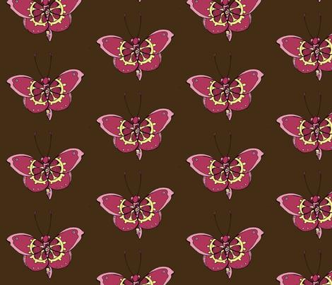 Clockwork Butterfly, Pink fabric by lilmissmaya on Spoonflower - custom fabric