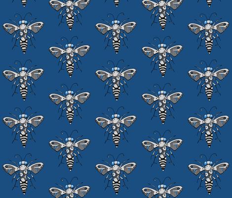 Gear Bee, Blue fabric by lilmissmaya on Spoonflower - custom fabric