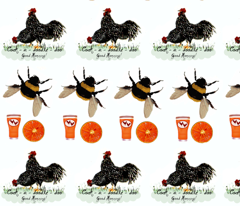Roosters oj and bees fabric by paragonstudios on Spoonflower - custom fabric