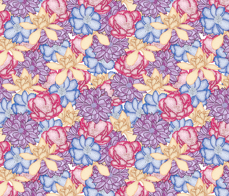Pointillism Blooms fabric by leighr on Spoonflower - custom fabric