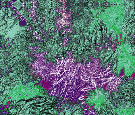 purple green leaves large scale fabric by heikou on Spoonflower - custom fabric