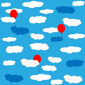 clouds with balloons
