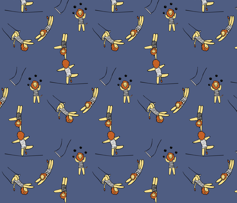 Blue Lion Circus fabric by pond_ripple on Spoonflower - custom fabric
