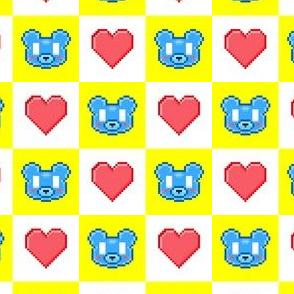 Bear Picnic Pixel Checkered Kawaiikuma & Hearts