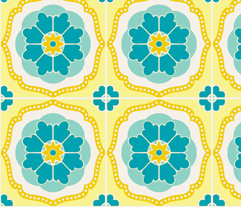 Flowertile blue fabric by myracle on Spoonflower - custom fabric