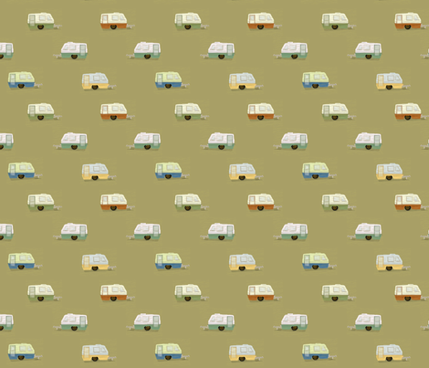 "HAPPY CAMPERS in ""OLIVE"" fabric by trcreative on Spoonflower - custom fabric"