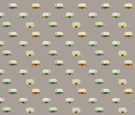 "HAPPY CAMPERS in ""STONE"" fabric by trcreative on Spoonflower - custom fabric"