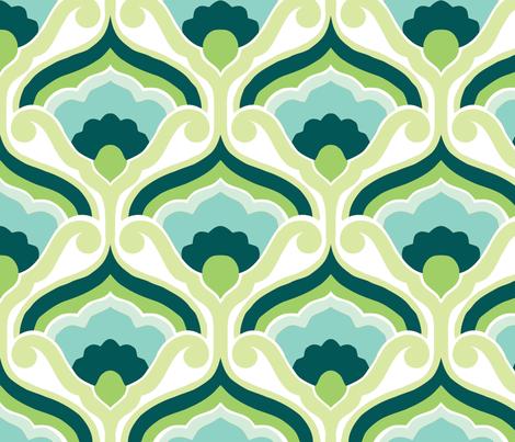 Retro fan green fabric by myracle on Spoonflower - custom fabric