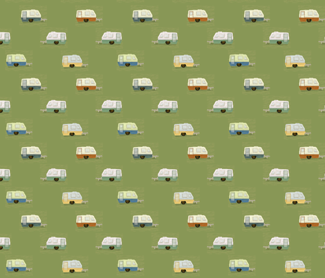 "HAPPY CAMPERS in ""MOSS"" fabric by trcreative on Spoonflower - custom fabric"
