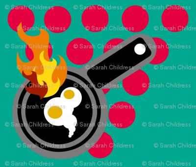 CRAP!  The eggs are burning