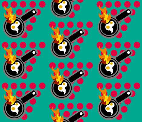 CRAP!  The eggs are burning fabric by bee_smiles on Spoonflower - custom fabric