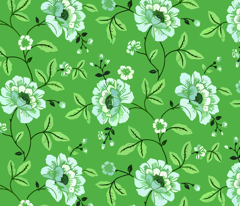 Climbing rose green fabric by myracle on Spoonflower - custom fabric