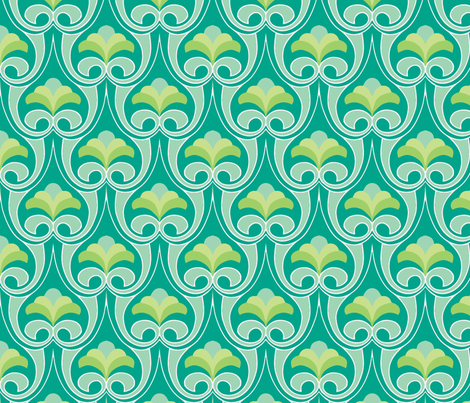 Bouquet teal fabric by myracle on Spoonflower - custom fabric