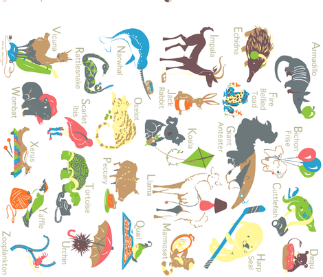Animal Alphabet fabric by eloisenarrigan on Spoonflower - custom fabric