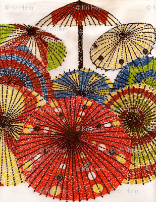 pretty parasols in pointillism
