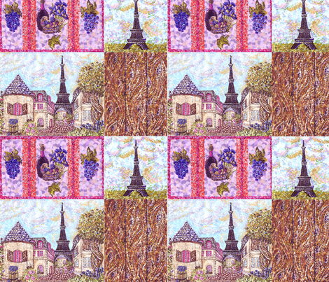 Paris Cityscape Pointillism by Kristie Hubler fabric by fabricatedframes on Spoonflower - custom fabric