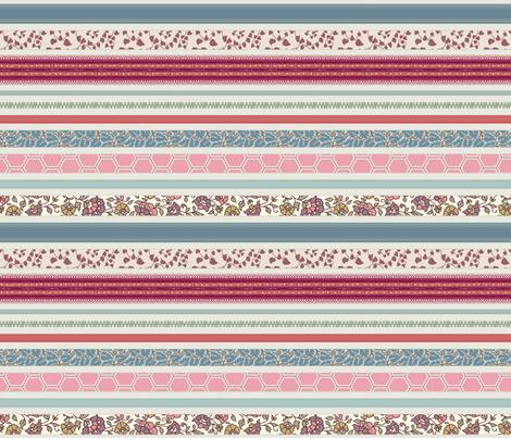 romantic ribbon stripe fabric by littlerhodydesign on Spoonflower - custom fabric