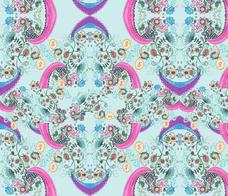 Doodley Doo Version 2- Blue fabric by theindyplayground on Spoonflower - custom fabric