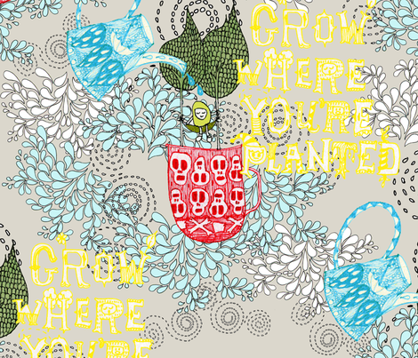 Grow Where You're Planted fabric by theindyplayground on Spoonflower - custom fabric