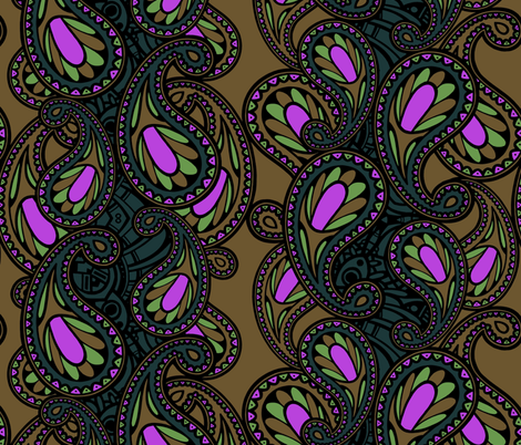 paisley brown/gray with a touch of pink fabric by lilichi on Spoonflower - custom fabric