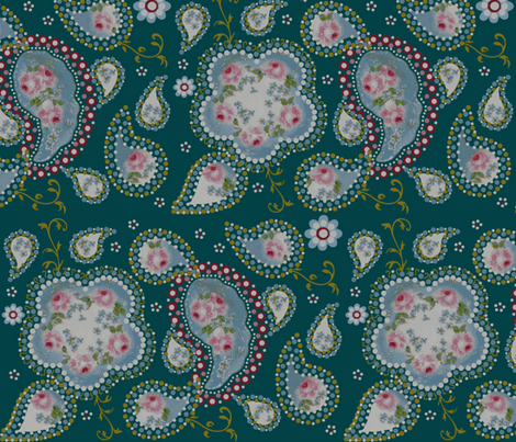 paisley_roses/ teal fabric by paragonstudios on Spoonflower - custom fabric