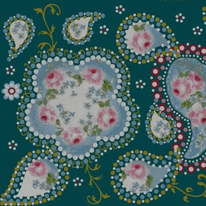 paisley_roses/ teal