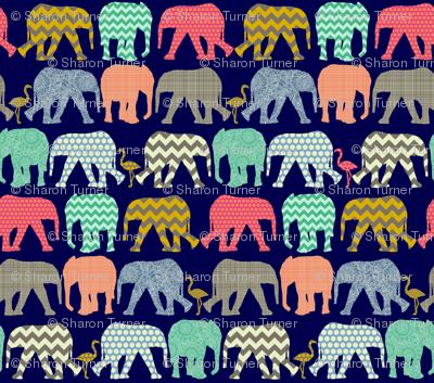 small baby elephants and flamingos navy