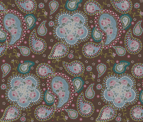 Coco rose paisley  fabric by paragonstudios on Spoonflower - custom fabric