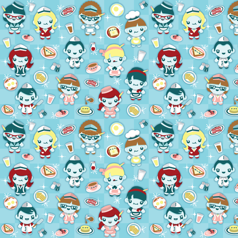 (small) Breakfast at Flo's Diner fabric by greencouchstudio on Spoonflower - custom fabric
