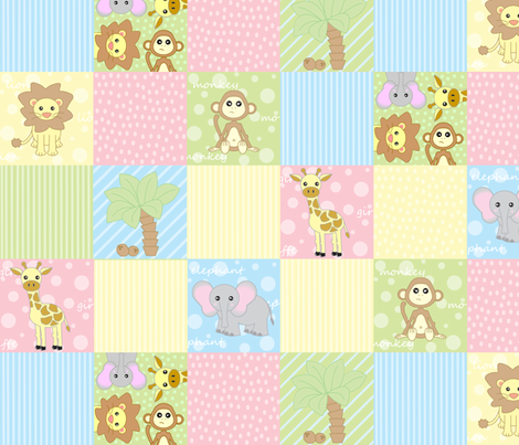 Baby jungle animals print fabric jsdesigns spoonflower for Nursery print fabric