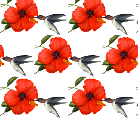 watercolor_hibiscus_and_hummingbird fabric by marsharee on Spoonflower - custom fabric