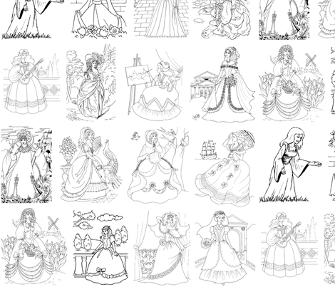 Historical Princesses fabric by rengal on Spoonflower - custom fabric