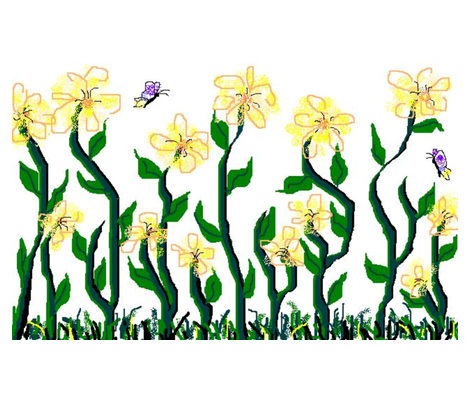 Flower and Butterfly Border Print Yellow fabric by myndfulmotif on Spoonflower - custom fabric