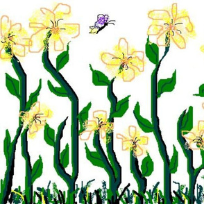 Flower and Butterfly Border Print Yellow
