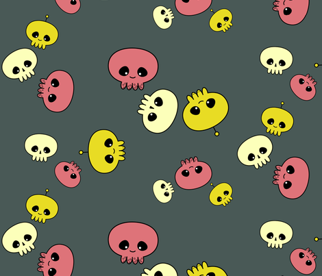 Squids, Skulls & Spacemen fabric by chris on Spoonflower - custom fabric