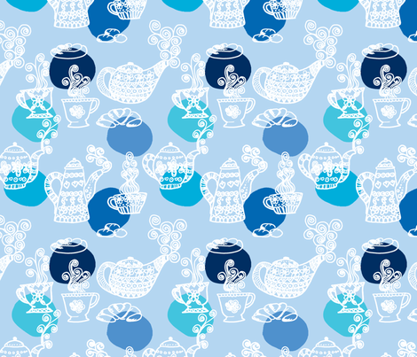 a_table_bleu_L fabric by nadja_petremand on Spoonflower - custom fabric