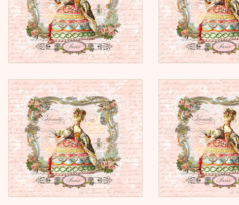 Marie Antoinette French Script Writing fabric by greerdesign on Spoonflower - custom fabric