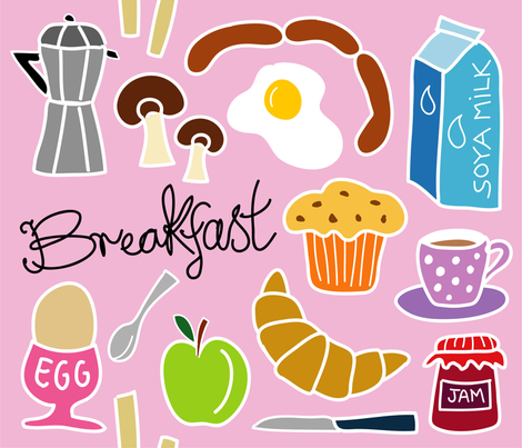 breakfast_doodle_pink fabric by peppermintpatty on Spoonflower - custom fabric