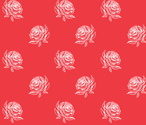 Rose Sketch on Red fabric by sewgertiesew on Spoonflower - custom fabric