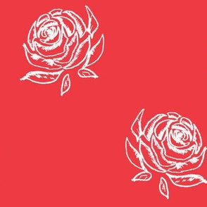 Rose Sketch on Red