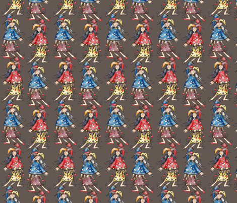 Lady jokers coordinating fabric by catru on Spoonflower - custom fabric