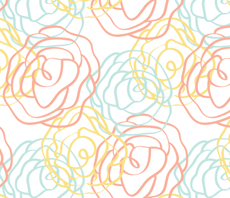 Garden Party Collection- Large White Pattern fabric by tinylittlebird on Spoonflower - custom fabric