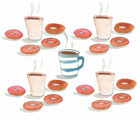 donuts_coffee fabric by cinqchats on Spoonflower - custom fabric