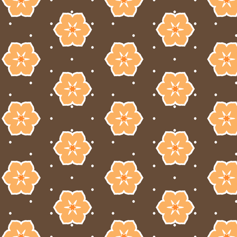 Dark Chocolate Floral - Orange fabric by inscribed_here on Spoonflower - custom fabric