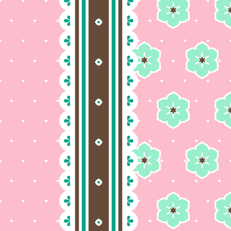 Chocolate Border Ribbon - Fairy Floss fabric by inscribed_here on Spoonflower - custom fabric