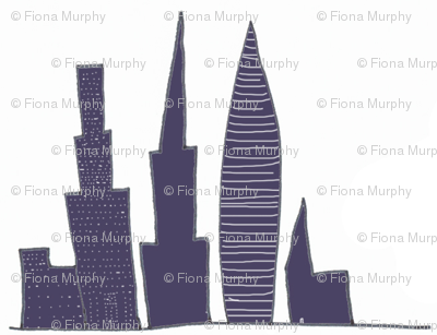City Skyscrapers, buildings outline, blue,white