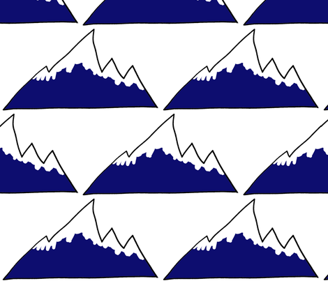 Mountain Peak covered in snow in blue and white fabric by sew_delightful on Spoonflower - custom fabric