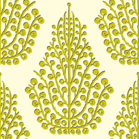 SPIRIT cream lime fabric by scrummy on Spoonflower - custom fabric