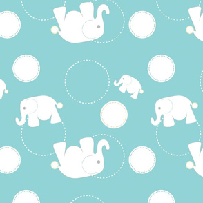 Tossed Elephants Blue